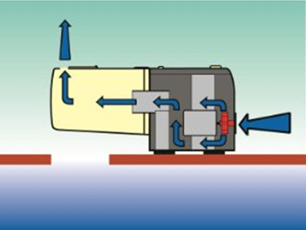 Typical ventilation system in an automatic fish feeder